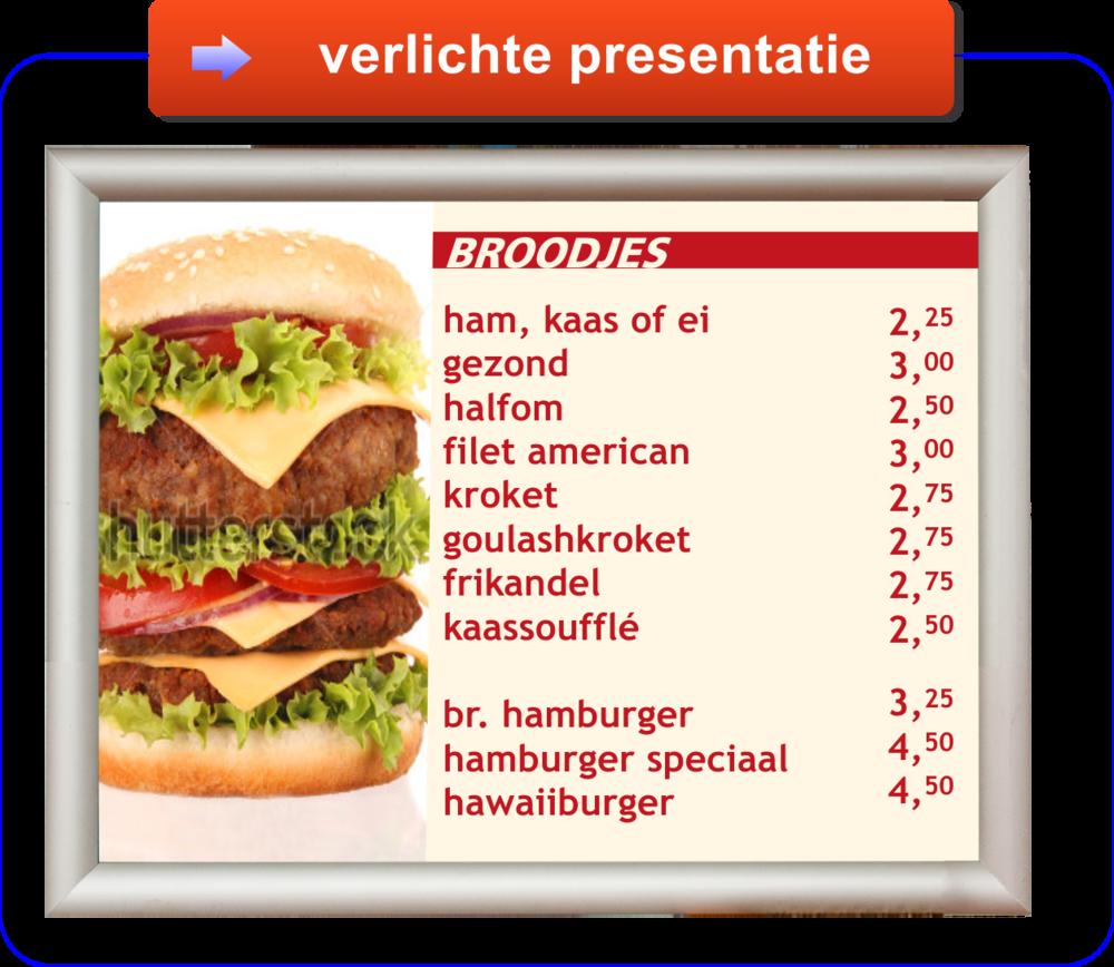 informatie verlichte menupresentatie